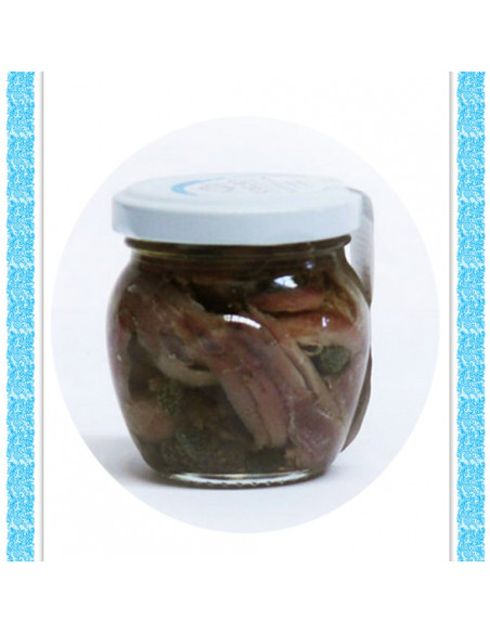 Filetti di alici con capperi all'olio d'oliva vaso gr 106