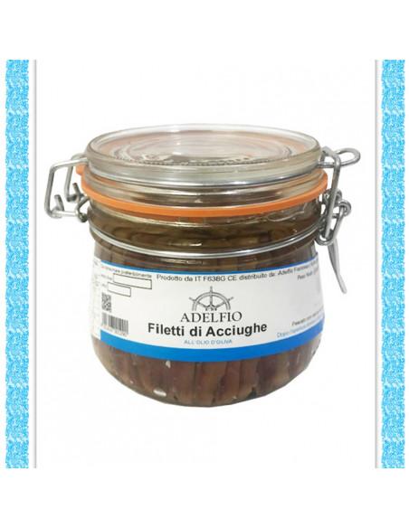 Filetti di acciughe all'olio d'oliva vaso gr 580
