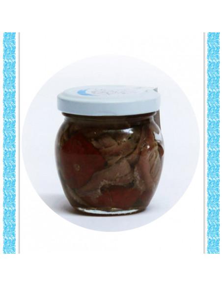 Filetti di alici con pomodorino secco all'olio d'oliva vaso gr 106