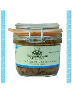 Filetti di acciughe con Peperoncino Rosso all'olio d'oliva vaso gr 230