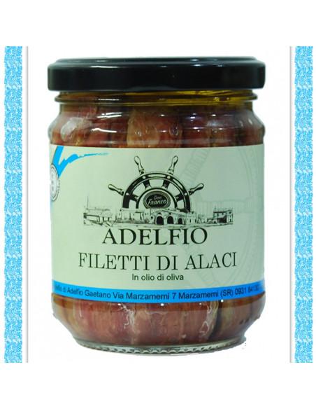 Filetti di Alaci all'olio d'oliva vaso gr 200