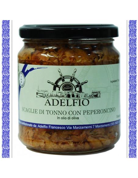 OFFERTA: PRENDI 3 PAGHI 10 EURO - Scaglie di tonno con Peperoncino all'olio d'oliva vaso gr 300 - OFFERTA