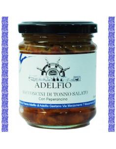 Bocconcini di tonno salato con peperoncino rosso all'olio d'oliva vaso gr 200